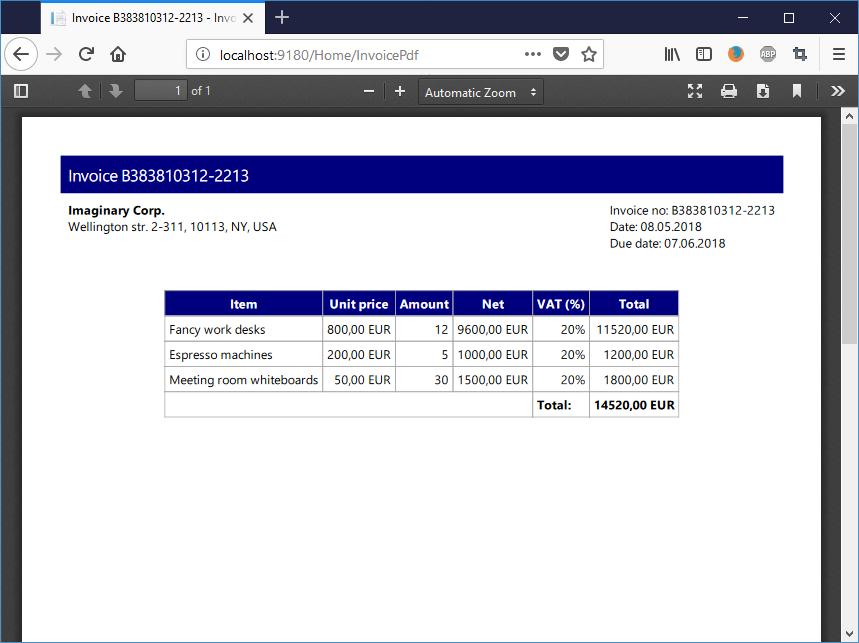 Creating PDF on ASP NET Core